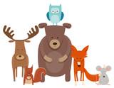 cute cartoon animal characters group - 184479483