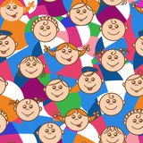 Seamless pattern, kids kaleidoscope, viewers. Girls and boys. Vector illustration.