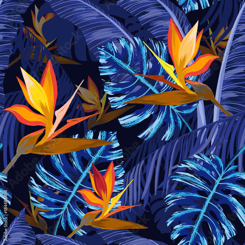 Seamless pattern with blue tropical flowers - 184484404