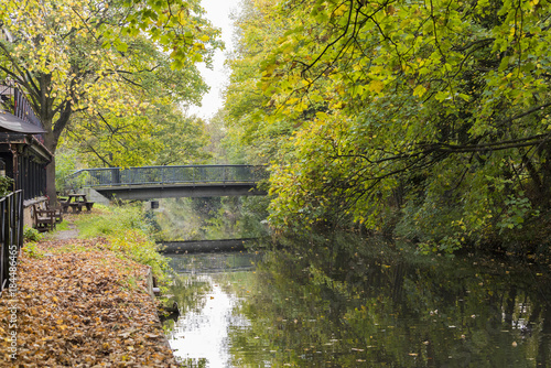 Foto op Canvas Herfst Autumn scene brilliant of fall color reflecting in small pond with bridge arching over water