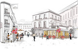 Fashion people in the street cafe in the old city. Hand drawn vector illustration.