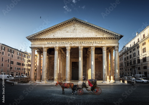 Pantheon, horse in the foreground, Rome, Italy