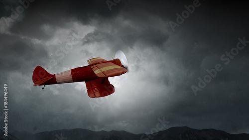 Danger of airplane crash. Mixed media