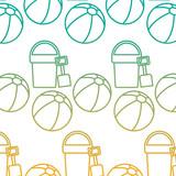 beach ball bucket shovel toy accessories vacation pattern vector illustration - 184499069
