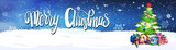 Merry Christmas Lettering Over Night Sky Background With Decorated Fir Tree Horizontal Banner Flat Vector Illustration - 184501802