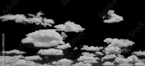 White cloud isolated on black background, Black and white cloudscape image