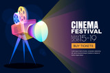 Vector glowing neon cinema festival poster or banner background. Colorful 3d style movie camera with film spotlight. Sale cinema theatre tickets, movie time and entertainment concept. - 184502448