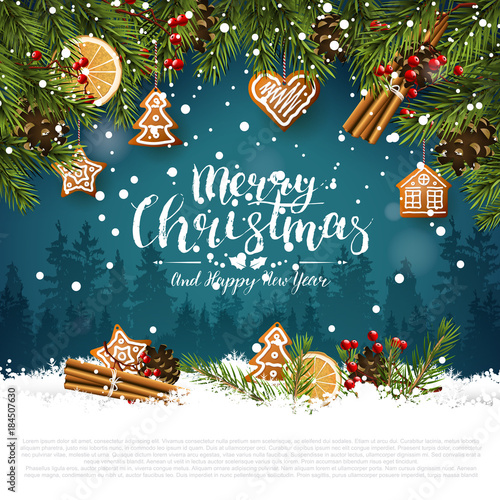 Traditional Christmas greeting card - 184507630