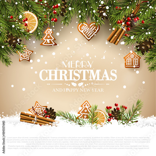 Traditional Christmas greeting card - 184507640