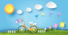 Landscape Design  Bicycle On Grass Sun Cloud Paper Art Style On Pastel Color   Illustration Sticker