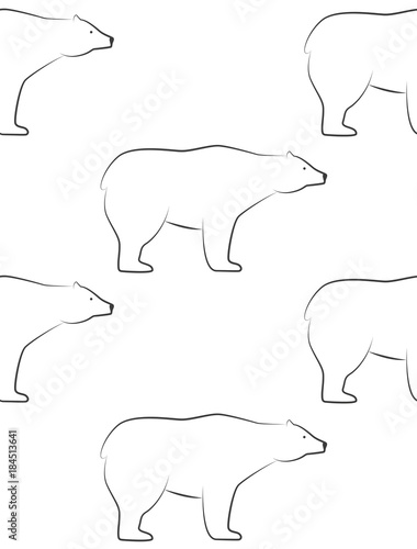 White bears pattern. Seamless pattern in scandinavian style with polar bear. Pattern for print on wallpaper, gift paper, textile, paper. Two-color pattern. - 184513641