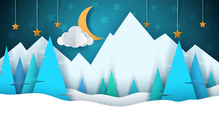 Winter cartoon paper landscape. Merry christmas, happy new year. Fir, moon, cloud, star, mountain, snow.