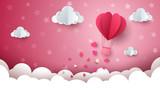 Heart, cloud, air ballon illustration. - 184516465