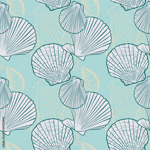 Cotton fabric vector seamless pattern with seashells