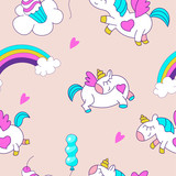 Unicorns and rainbow. Seamless pattern