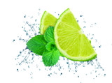 lime splash water and mint isolated on white