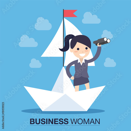 Businesswoman in a boat