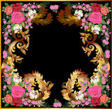 rose floral square frame decoration with brown curls - 184521448