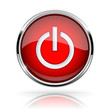Red round media button. POWER button. Shiny icon with chrome frame and with reflection