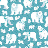 polar bear starry seamless pattern