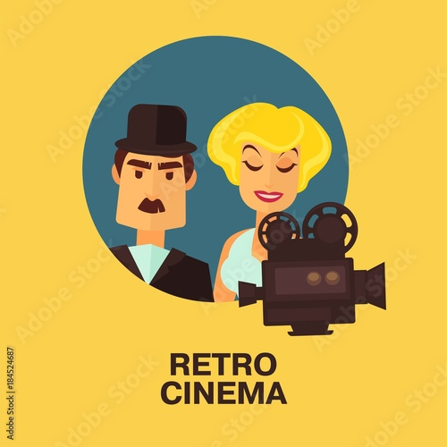 Plexiglas Vintage Poster Retro cinema movie comic actor man and star woman actress characters.