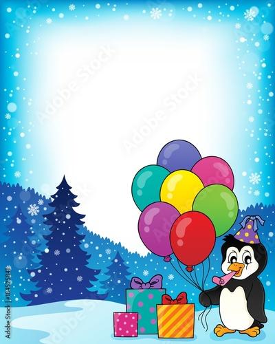 Plexiglas Voor kinderen Frame with party penguin topic 1
