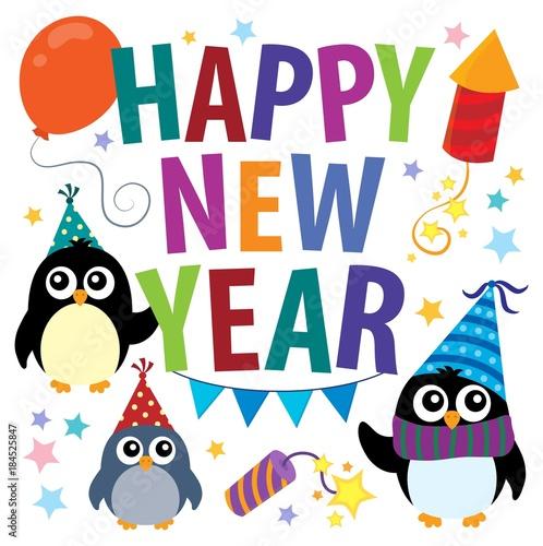 Plexiglas Voor kinderen Happy New Year theme with penguins