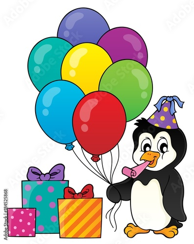 Plexiglas Voor kinderen Party penguin topic image 1