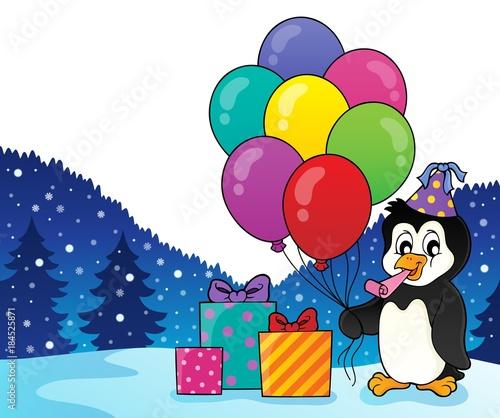 Plexiglas Voor kinderen Party penguin topic image 2