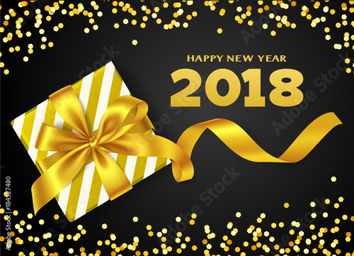 happy new year 2018 vector new year background with gift box yellow golden bow