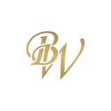 Initial letter BW, overlapping elegant monogram logo, luxury golden color - 184527696