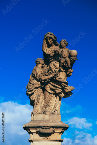 Tuinposter Praag Czech, Prague, gothic sculpture of the Saint Anne on the Charles bridge. Prague, medieval art, statue on the bridge of King Charles.