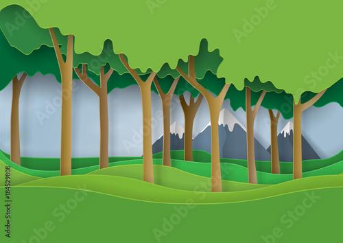 Fototapeta Green nature forest landscape scene paper art background.Ecology and environment conservation concept design.Vector illustration.