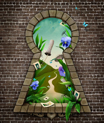 Fantastic bizarre fabulous keyhole in  brick wall in  whimsical garden fairy tale Wonderland