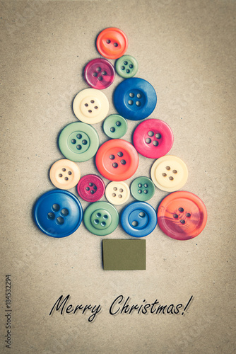 Poster Colorful buttons arranged in the shape of Christmas tree