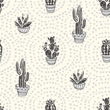 Succulents and cacti plants on the dot background. Vector seamless pattern with  home garden cartoon cactus. Fabric design. - 184534485