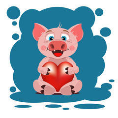 Cute pig with heart. Valentine's day.