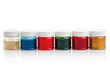 Large set of gouache paint cans in a row. Colorful paints isolated on white - 184535060