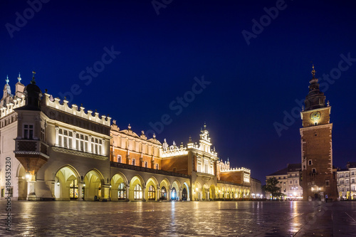 Fotobehang Krakau KRAKOW, POLAND - August 27, 2017: The main square of downtown Krakow, Poland