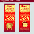 Chinese New Year 2018 vertical banner set with dog face and golden stick pot. Vector design