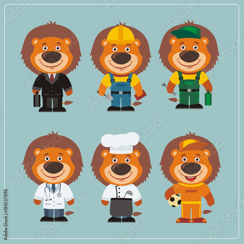 Fototapeta Set of lion in different costumes: builder, sportsman, worker, a doctor, manager, cook. Collection of lion in clothes in cartoon style.