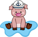 Cute pig wearing a sailor hat - 184539094