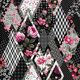 seamless floral patchwork pattern with roses - 184542268