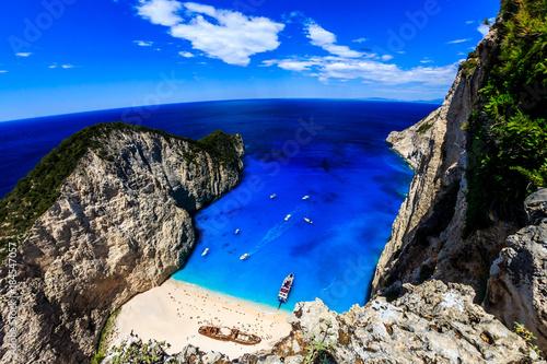 Plexiglas Donkerblauw Shipwreck beach ( Navagio ) in Zante Zakynthos Greece