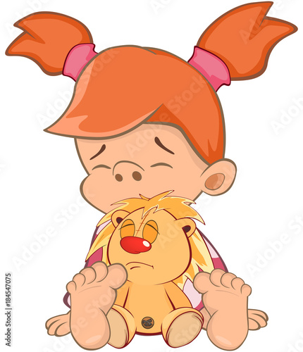Foto op Canvas Babykamer Illustration of a Cute Little Girl. Cartoon Character