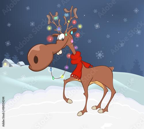 Foto op Canvas Babykamer Illustration of Christmas Deer
