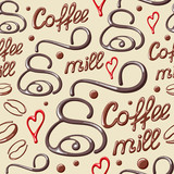 Seamless pattern with coffee mill, coffee beans and heart. Suitable for wallpaper, wrapping or textile - 184555445