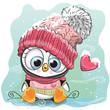 Cute Cartoon Penguin in a knitted cap