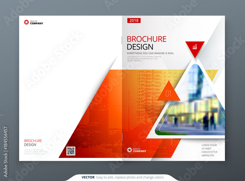 Fototapeta Brochure template layout design. Corporate business annual report, catalog, magazine, flyer mockup. Creative modern bright concept circle round shape
