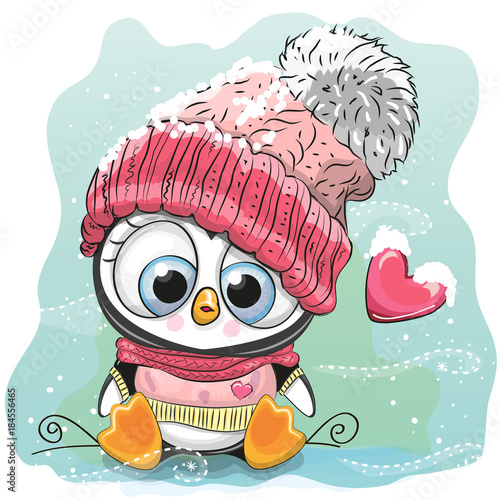 Cute Cartoon Penguin in a knitted cap